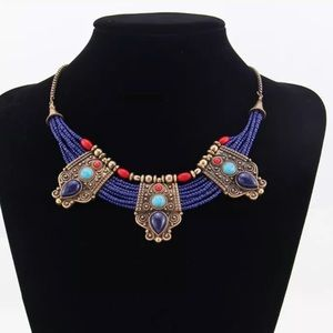 Retro Turquoise Coral blue bead Tibetan necklace